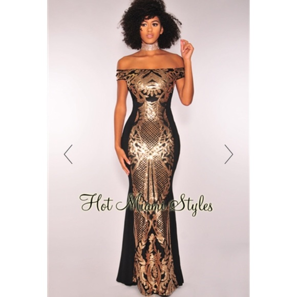 1c1c1f11d2c762 Hot Miami Styles Dresses & Skirts - Black Gold Victorian Sequins Off  Shoulder Gown